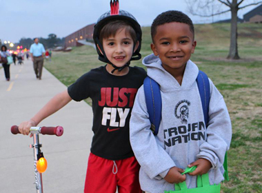 Students participating in Walk and Roll to school